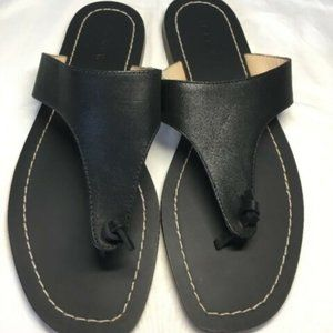 J. Crew Black Leather Playa Sandals Thong Slides